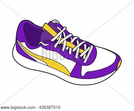 Realistic Sneaker Color Vector Illustration Isolated On White Background. Active Lifestyle Sports Sh