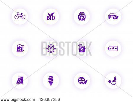 Alternative Energy Purple Color Vector Icons On Light Round Buttons With Purple Shadow. Alternative