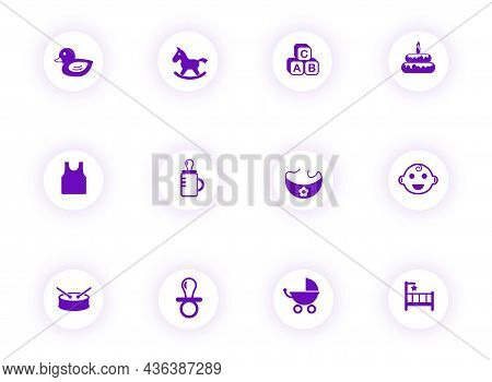 Baby Purple Color Vector Icons On Light Round Buttons With Purple Shadow. Baby Icon Set For Web, Mob