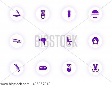Barber Shop Purple Color Vector Icons On Light Round Buttons With Purple Shadow. Barber Shop Icon Se