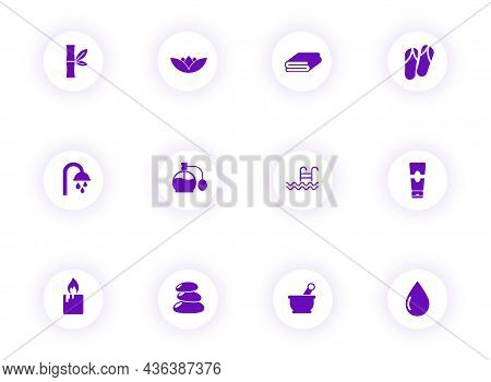 Beauty And Spa Purple Color Vector Icons On Light Round Buttons With Purple Shadow. Beauty And Spa I