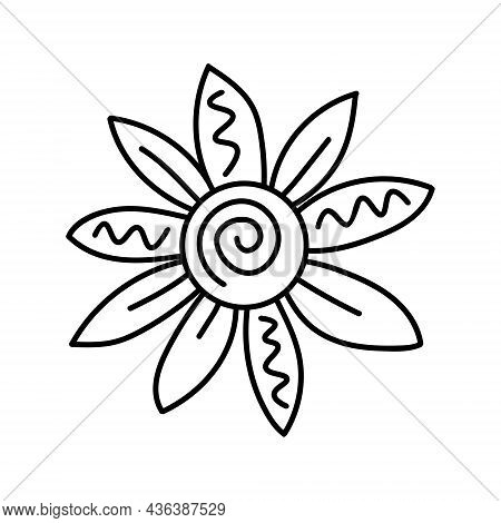 Daisy Flower In The Doodle Style. Vector Contour Drawing Illustration. Black And White Image Isolate