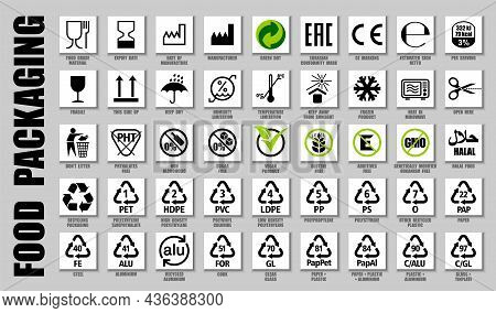 Full Set Of Food Packaging Icons, Product Guide Symbols. International Meal Pictograms For Food Pack