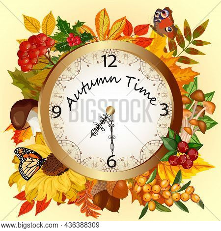 Vector Illustration With Clock And Autumn Leaves.clock With Autumn Leaves, Mushrooms And Berries On