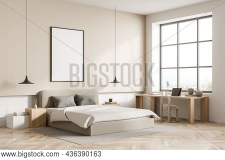 Beige Bedroom Interior With Bed And Pillows, Parquet Floor And Chair With Table, Side View. Mockup C