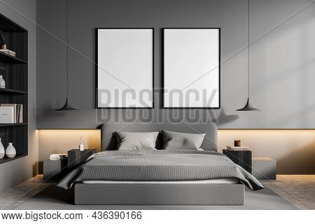 Light Grey Bedroom Interior With Bed And Linens, Coffee Tables With Decoration And Lamps. Mockup Two