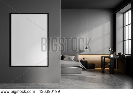 Dark Bedroom Interior With Bed And Pillows, Concrete Floor And Chair With Table, Front View. Mockup