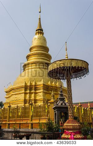 Golden Chedi Which Is A Major Place Of Worship, Phra That Hariphunchai
