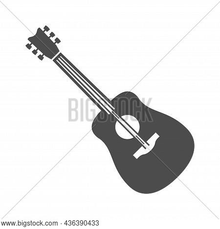 Monochrome Acoustic Guitar Icon Vector Illustration. Simple Classic Musical Instrument With Strings