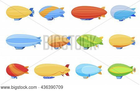 Colorful Passenger Airship Set Vector Illustration. Cigar Shaped Balloons Retro Zeppelin With Cabins