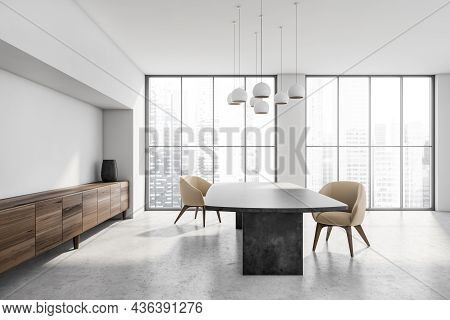 Eating Room Interior With Black Table, Beige Armchairs On Concrete Floor Near Window With Skyscraper