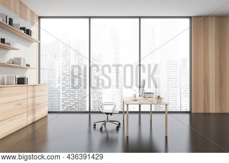 Spacious Personal Office Interior With Minimalist Executive Office Desk, Light Wood Sideboard And Wa