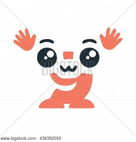 Number 9 Cute Kawaii Character With Hands, Funny Emoticon Vector Clip Art.