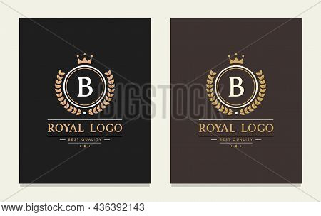 Graceful Letter B Luxury Royal Style Crown Logo. Elegant Emblem And Round Shape. The Vintage Symbol