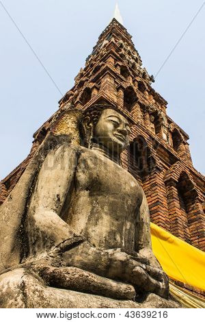 Buddha Statue , Old Chedi In Wat  Phra That Hariphunchai