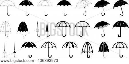 Umbrella Icon Set, Black And White Umbrella Symbol Collection, Open And Closed Umbrella Vector