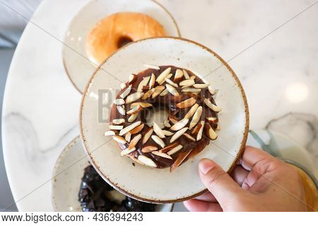 Donut Or Doughnut, Chocolate Donut And Caramel Donut Or Almond Donut For Serve