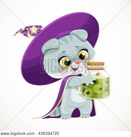 Cute Cartoon Baby Cat In The Wizard's Hat And Cloak Holding In Its Paws A Large Jar Of Eyeballs Ingr