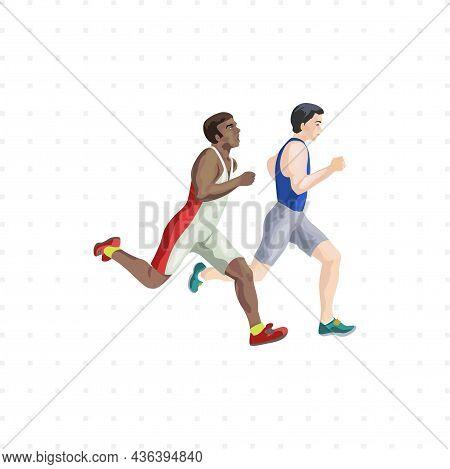 Runner Sprinter Isolated Character Illustration On White Background