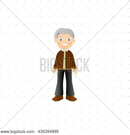 Grandfather Isolated Character Illustration On White Background