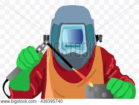 Welder In A Welding Helmet Isolated Illustration On White Background