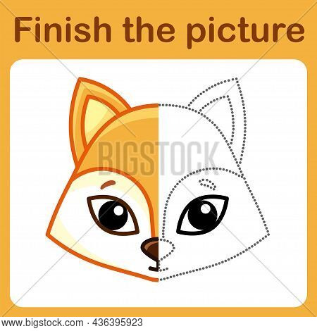 Connect The Dot And Complete The Picture. Simple Coloring Fox. Drawing Game For Children