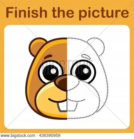 Connect The Dot And Complete The Picture. Simple Coloring Beaver. Drawing Game For Children