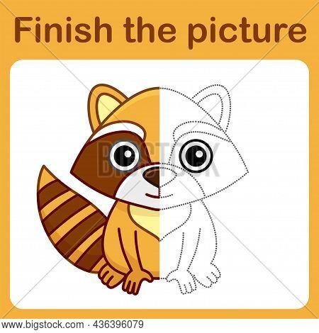 Connect The Dot And Complete The Picture. Simple Coloring Raccoon. Drawing Game For Children