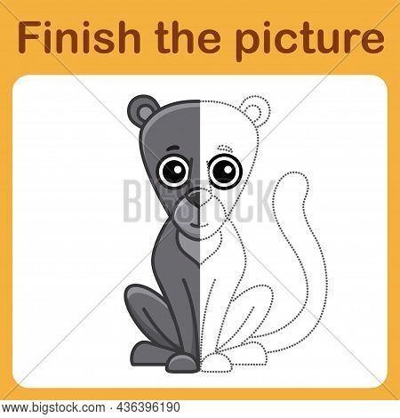 Connect The Dot And Complete The Picture. Simple Coloring Puma. Drawing Game For Children