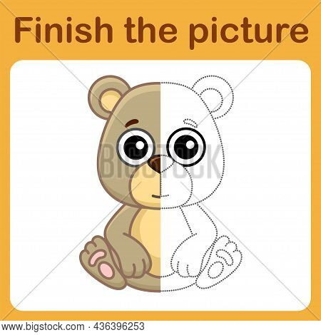 Connect The Dot And Complete The Picture. Simple Coloring Bear. Drawing Game For Children