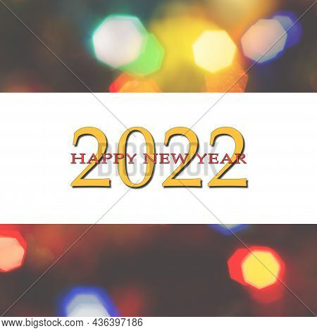 Happy New Year 2022 Greeting Card.
