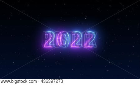 Number 2022 Neon Light Bright Glowing. 2022 Happy New Year Dark Night Sky Background With Decoration