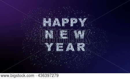 Happy New Year Fireworks On Dark Gradient Colorful Background With Decoration With Neon Number  On P