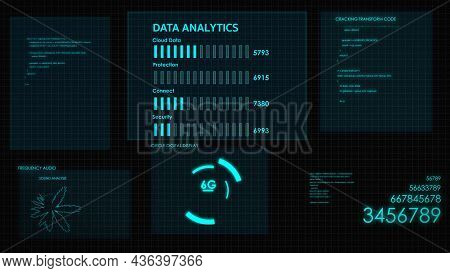 Hud Graphic Of Screen. Futuristic User Interface Glow Gui Digital Text And Number Random Element For