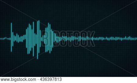 Minimalist Hud Waveform Audio. Abstract Blue Glow Neon Sound Waves Background. Audio Waveform  Abstr