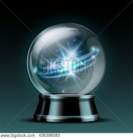 Shining Crystal Ball On A Dark Background. Bright Glowing Crystal Ball For Fortune Tellers.