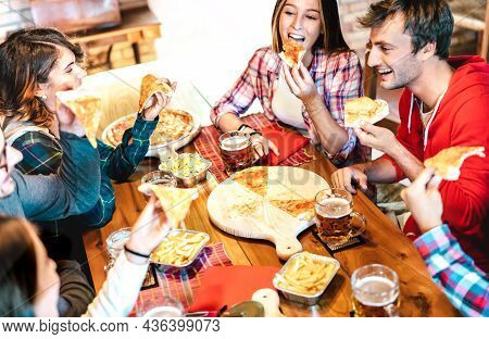 Young People On Eating Takeaway Pizza At Home On Family Reunion - Friendship Life Style Concept With
