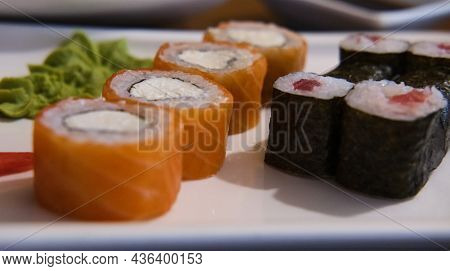 Rolls With Red Fish On A Plate