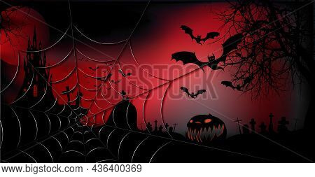Halloween Party Banner, Spooky Dark Red Background, Silhouettes Of Characters And Scary Bats With Go