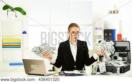 Bank Worker. Thirst For Profit. Motivation. Black Cash. Financial Insurance. Banking Concept. Invest