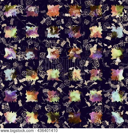 Exotic Multicoloured Boho Geometric Camouflage Scatter Print. Seamless Autumnal Dark Ground Detailed