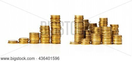 Stack Of Gold Coins Steps Up. Profit Success Concept, Money Growth, Good Investment. Isolated On Whi