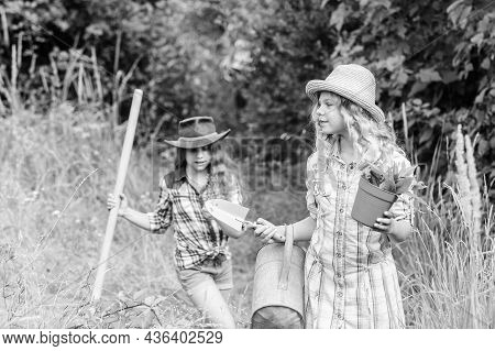 Sisters Helping At Farm. Girls With Gardening Tools. Eco Farming Concept. Adorable Girls In Hats Goi
