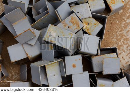 Background From Steel Parts. Metalworking. Preparation Of Parts For The Installation Of A Metal Stru