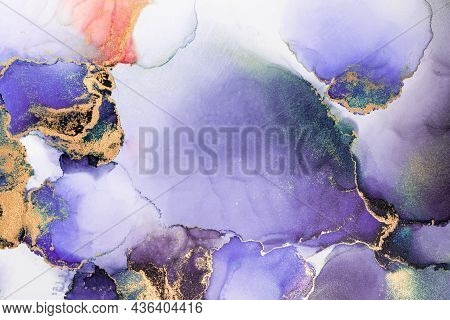 Purple Gold Abstract Background Of Marble Liquid Ink Art Painting On Paper . Image Of Original Artwo