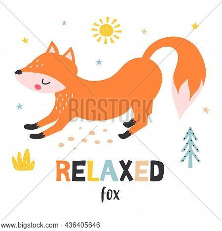 Flat Vector Illustration With Cute Fox Isolated On White Background, Woodland Animal In Scandinavian