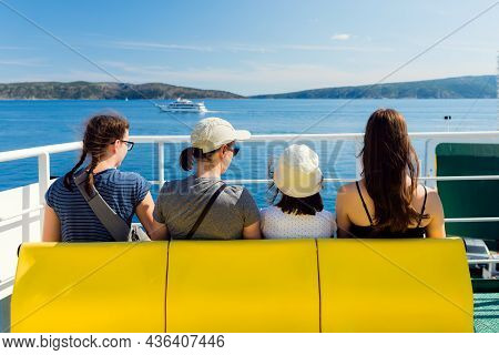 Family - Mother With Three Daughters - On The Ferry. The Beginning Of Vacation - Sea Journey Concept