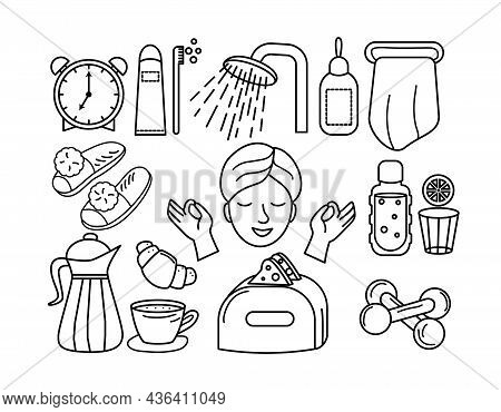 A Young Woman Doing Her Morning Routine. Woman Self Care Concept. Vector Illustration In A Hand Draw