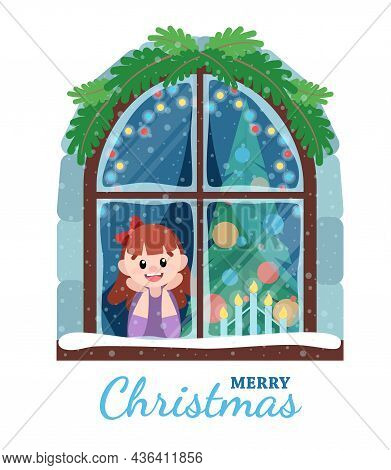 Christmas And New Year Card With The Girl At The Window. Festive Mood, Falling Snow, Christmas Tree.