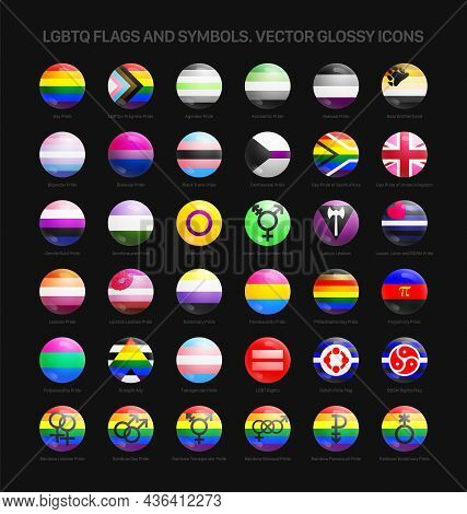 Lgbtq Pride Flags And Symbols 3d Vector Glossy Round Icons Set Isolated On Black Background. Rainbow